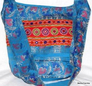 Bohemian Style Indian Jacquard Blue Color Silk Hand Bag