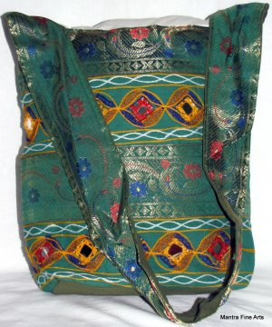 Bohemian Style Indian Jacquard Green Color Silk Hand Bag with Mirrorwork
