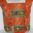 Bohemian Style Indian Jacquard Orange Color Silk Hand Bag with Mirrorwork