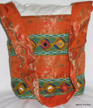 Bohemian Style Indian Jacquard Orange Color Silk Hand Bag with Mirrorwork