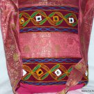 Bohemian Style Indian Jacquard Pink Color Silk Hand Bag with Mirrorwork