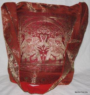 Bohemian Style Indian Jacquard Silk Hand Bag with Elephant Design