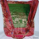 Bohemian Style Indian Jacquard Silk Hand Bag with Elephant Design