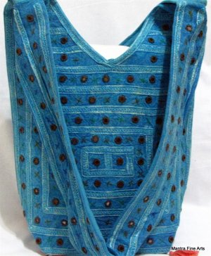 Bohemian Style Boho Gypsy Blue Shoulder Bag Purse with Mirrorwork