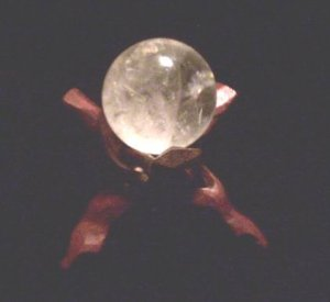 GOTHIC 50 MM NATURAL MADAGASCAR QUARTZ CRYSTAL BALL WITH STAND WICCA PAGAN CELTIC