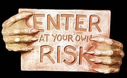 NEW ENTER AT YOUR OWN RISK SIGN HALLOWEEN PROP GARGOYLE