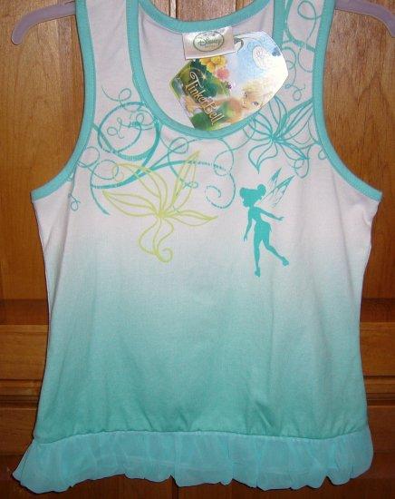 Disney Fairies Tinker Bell Girls Tank T-Shirt Size 7/8 Color Aqua New