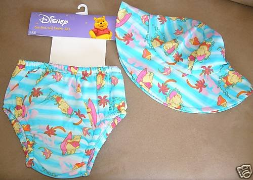 DISNEY WINNIE THE POOH SUN HAT AND DIAPER SET 18 MONTHS