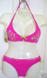 DisneyFairies Tinker Bell Girls Bikini Pink Size XL 14/16 Swinwear