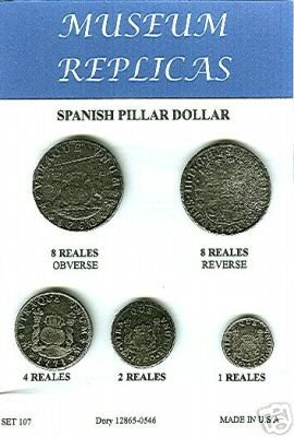 (DD-S 107) 5 Spanish  Pillar Dollar Coins COPY