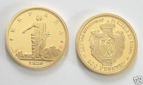 (MC R13-4) 1870 Spain Gold 100 Psetas COPY
