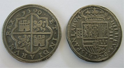 CC-14 Phillip II Eight Reale Coin of 1590 COPY
