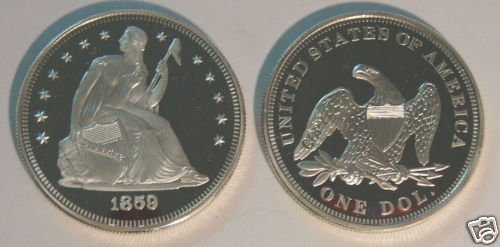CC-19 US 1859 Seated Liberty Dollar Proof COPY