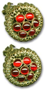 Antique Goldtone Earrings, Red Stones