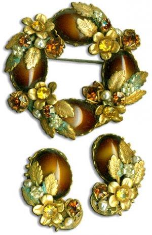 Brown-Gold Brooch & Earrings Set