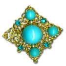 Goldtone Brooch with Turquoise & Pearls