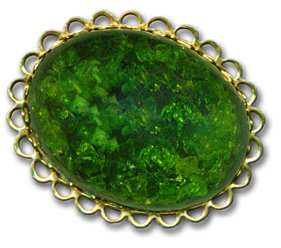 Oval Goldtone Brooch with Green Stone