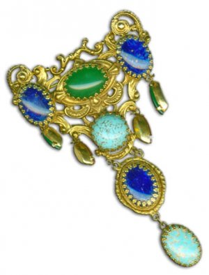 Large Goldtone Brooch with Stones