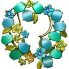 Blue & Green Flower Brooch