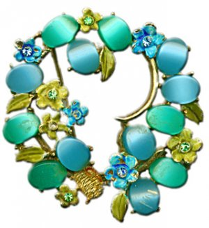 Blue & Green Flower Brooch