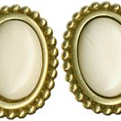 Oval Goldtone & Ivory Earrings
