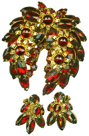 Ruby Crystal Brooch & Earrings Set