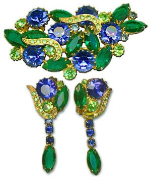 Blue And Green Brooch & Earrings Set