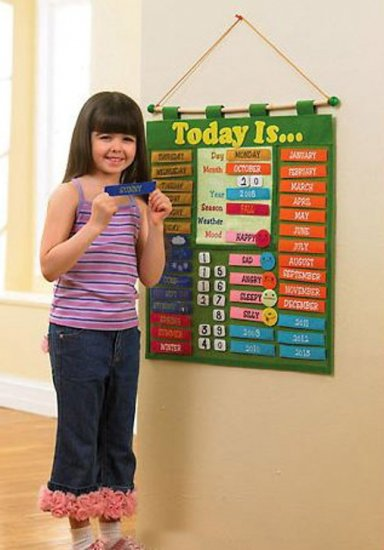 Kids Learning Calendar : Kids toddlers hanging learning calendar home school