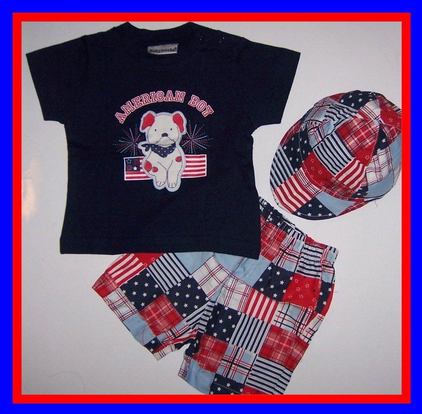 """[6/9 mos] baby 3 PC Outfit """"AMERICAN BOY"""" 4TH OF JULY New"""