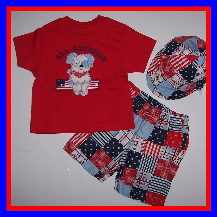 "[3/6 mos] 3 PC baby 4TH OF JULY  Outfit ""ALL AMERICAN"" Boy Girl  New"