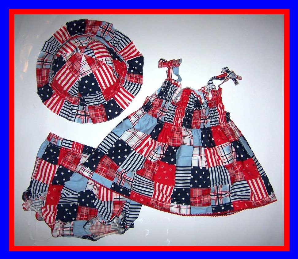 [6/9 mos] baby Girl 3 PC -Dress Pantie Hat 4TH OF JULY New