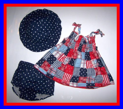 [0/3 mos] baby Girl 3 PC -Dress Pantie Hat 4TH OF JULY New