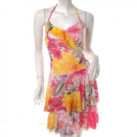 ARTSY PAINTERLY FLORAL ART  SPRING TIERED 80S INSP DRESS SM FREE SHIP!