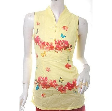 latest runway trend butterflies floral print yellow orientalism top free ship!