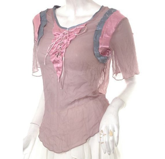 unique haute runway vintage 80s style sheer chiffon satin lace-up sporty top m free ship!