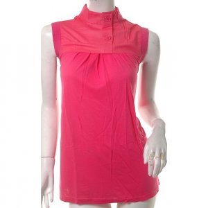 unique hot pink cyber futuristic split back high neck tunic top avantgarde s-m