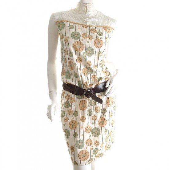 unique vintage 60s style chinese insp lace trim pencil skirt art nouveaux dress m free ship!