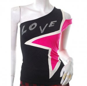 unique 80s asymmetrical urban punk shoulder slash pop art top s-m free ship! :  tops casual top womens clothing viscose