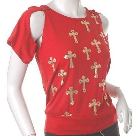"""gothic joan of arc insp crosses unique """"armoured"""" sleeves top m-l free ship!"""