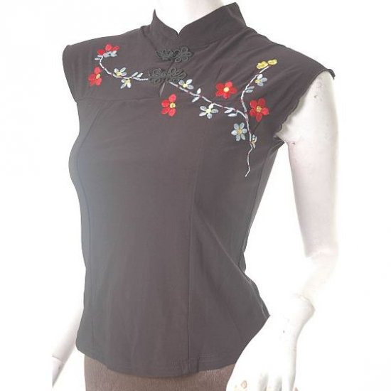 sexy high neck oriental chinese insp femme fatale embrd top s free ship!