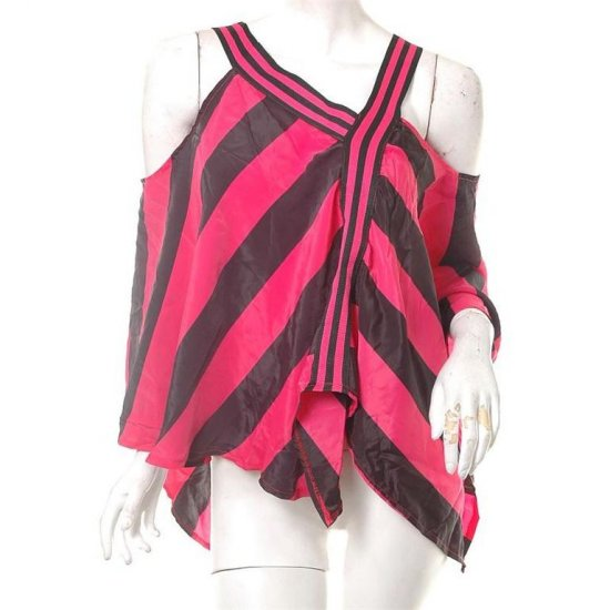 unique runway insp asymmetrical stripes neon 80s style poncho top s-l free ship!