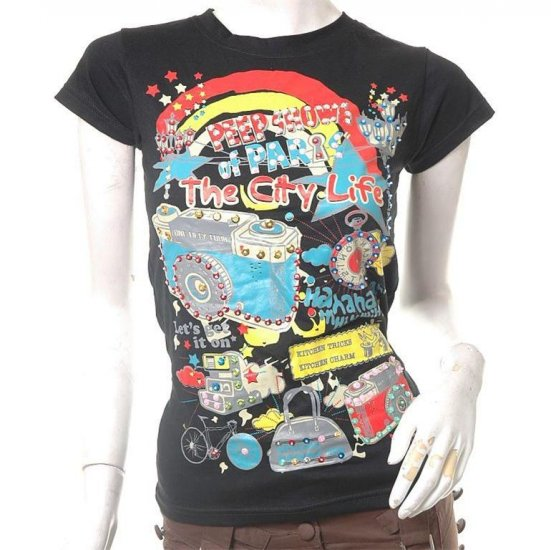 unique urban art print rave scene skinny fit t-shirt xs-s free ship!