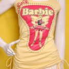 emo scene Side stirrup ruched shldr ties long top barbie mini dress