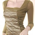 2010 sheer sleeves n back ruched bustier top free shipping