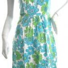 Retro artsy floral pinafore full skirt bandage dress