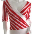 Stripe Wrap Top Urban Runway 80s Retro M scene low cut