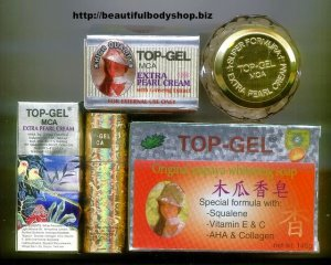 3pc set Top Gel MCA Extra Pearl cream and Soap Top Gel Set