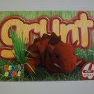 TY Beanie Baby Card # 93 Grunt the Razorback - Style # 4092