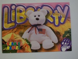 TY Beanie Baby Card # 102 Libearty the Bear - Style # 4057