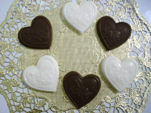 Homemade Vanilla &amp; Chocolate Candy - Heart Shaped - Individually Wrapped